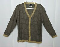 VTG 80s Glam Rochelle California Women's Size Small navy gold Cardigan Sweater