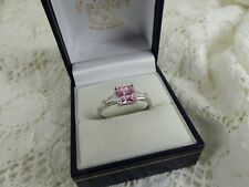 14k 14carat White Gold 585 Pink Cubic Zirconia Ring, Size T