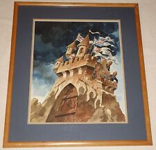 Satricial Watercolor Illustration Oil Industry Leaders atop Castle by Jack Davis