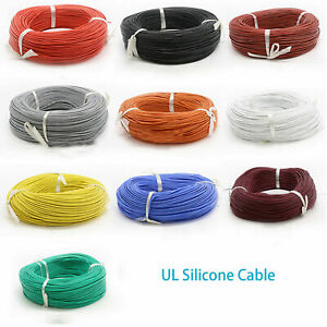 Strand Silicone UL Various Colour Super Flexible RC Cable 0.08mm 12AWG to 20AWG
