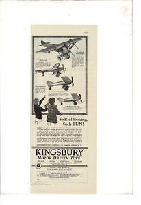 VINTAGE YOUTH'S COMPANION KINGSBURY MOTOR TOY AIRPLAINES BOYS AD PRINT C535