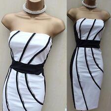 KAREN MILLEN noir blanc Sexy sablier Zip détails Corset Cocktail robe 10 UK