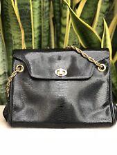 Vintage Koret Black Leather Purse Bag Embossed Snakeskin Handbag Gold 50s 60s