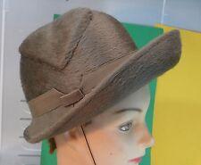 Superbe Chapeau en feutre poils longs, années 1950, France, couleur taupe