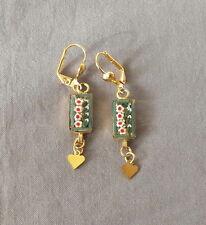 Vintage Floral Drop Dangle Micro Mosaic Pierced Earrings