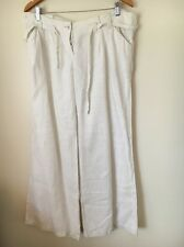 Top shop Size 16 Ivory Linen Flared Trousers <T5168