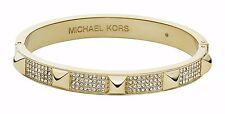 MICHAEL KORS MKJ3822 Gold-Tone Pave Embellished Bangle Bracelet BNWT $145