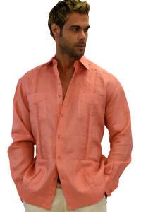 Guayabera Shirt for Men -  Linen Chacavana 4-Pkt Long Sleeve Beach Mexican Cuban