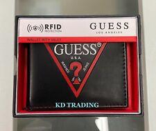 GUESS Men's Genuine Leather BILLFOLD Wallet w/ Valet RFID Protection ~ BLACK