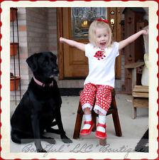 BonEful RTS NEW Boutique Baby Girl 18 Month LadyBug Top Capri Pants Set Hair*Bow
