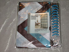 "Printed Fabric Shower Curtain with Roller Hooks Polyester Bathroom 70""x72"" New!"