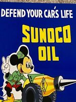 "VINTAGE SUNOCO OIL MICKEY MOUSE 12"" METAL GASOLINE SIGN WALT DISNEY GAS STATION"