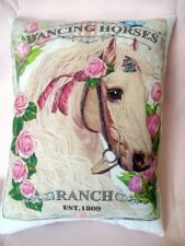 Beautiful HORSE Pillow Pink ROSES Pony Horse Shabby Chic Pony Decor, SWEET!!!!
