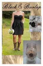 10 Primitive Classy Burlap Black Rustic Cowgirl Mason Jar Wedding Decorations F4