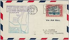 60126 - USA -  First Flight COVER: MILWAKEE - GREEN BAY - AMC: 9 W8