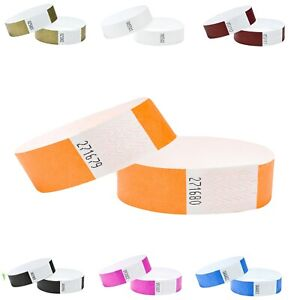 Wristbands 100 Security Party Event Festivals Clubs Plain 19mm Tyvek Numbered