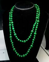Vintage Green Aaventurine Faceted beads long necklace
