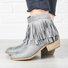 NEW Faux Suede Double Layered Fringe Cowboy Western Short Ankle Boot Booties Zip