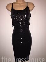 BNWT Very Black Sequin Layered Cami Bodycon Dress Size 12 Stretch RRP £49