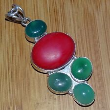 "925 SILVER PLATED CORAL & GREEN ONYX STONE ANTIQUE PENDANT 3 "" Inches 1"