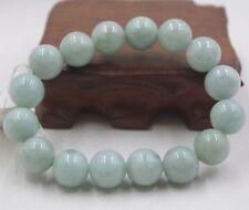 Natural Grade A 13.5mm Round Bead Green Jade (Jadeite) Bracelet Unisex