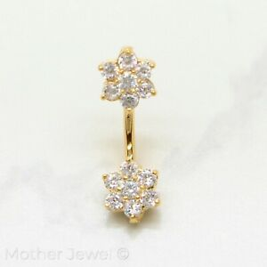 18K YELLOW GOLD TRIPLE PLATE 9MM TWIN FLOWER SIMULATED DIAMOND BELLY BAR RING