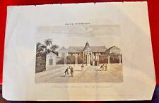 Gravure de SAINT DENIS île Bourbon La Réunion REUNION Hôtel du gouvernement 1835