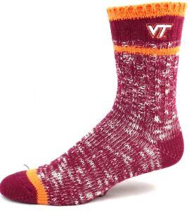 Virginia Tech Hokies College Red and Orange Alpine Knit Crew Socks