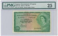 Cyprus 1957 500 MILS Pick #34a PMG 25 Very Fine