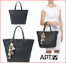 APT 9 AVA Soft TOTE with Tassels Bag Purse - Large Faux Leather BLACK  🌟NEW🌟