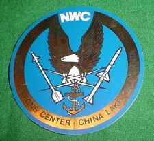"""NWC NAVAL WEAPONS CENTER CHINA LAKE STICKER, ROUND, 4"""", VINTAGE, RARE, BLUE/GOLD"""