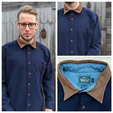 Vtg Woolrich L Navy Wool Blend Shirt Men's Suede Elbow Patches Collar Workwear
