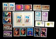 United Nations Geneva, complete  years 1974 & 1975 MNH 19 stamps + Souv sht