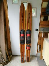 """New listing Vintage Adult Dick Pope Jr. Cypress Garden Wooden Water Skis 67"""" Vgc"""