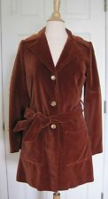 Thea Porter Couture Made in England Vintage 60s 70s Velvet Trench Jacket Small S
