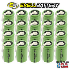 20x Exell 2/3A Size 1.2V 1100mAh NiMH Rechargeable Batteries  w/ Tabs USA SHIP