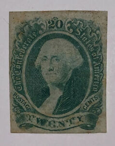 Travelstamps: US CSA Confederate Stamp # 13 Mint OG Hinged, Washington, 20 cents