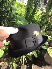 Vintage Mallory By Stetson Fedora Hat Black Size 7 1/4 Mint