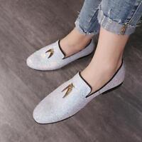 Mens Glitter Sequins Tassels Loafers Slip On Dress Formal Clubwear Shoes Flats