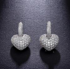 14k White Gold Heart Earrings made w Swarovski Crystal Pave Bling Stone Designer