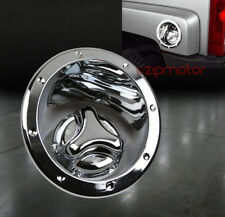 06-10 HUMMER H3 GAS TANK COVER FUEL DOOR LID BEZEL CAP MOULDING TRIM CHROME 2PCS
