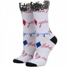 Birds of Prey Harley Quinn Sequin Cuff Crew Socks White