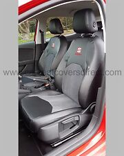 SEAT Leon Tailored Seat Covers - Black with Cloth Centres & Logos 3rd Gen 2013+