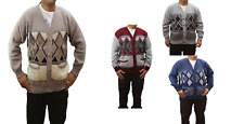 Mens Long Sleeve V neck Button Front Argyle Pattern Grandad Cardigan Style New