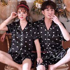 Womens Mens Silk Satin Pajamas Sets Short Nightwear Sleepwear Loungewear Pyjamas