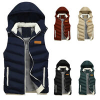 Men's Removable Hooded Vest Waistcoat Gilet Warm Quilted Jacket Sleeveless Coat