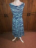 Lands End Ladies Dress Size Medium ( 14 16 ) Blue Unusual Quirky