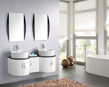 Arredo bagno 150 cm con doppio lavabo da appoggio in ceramica bianco laccato|sta