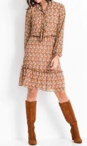 Kleid Damenkleid Stiefelkleid Midikleid Midi Paisley Print Rüschen 48 #323