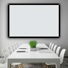 "100"" Electric Motorized Remote Projection Screen HD Movie Projector White BIN"